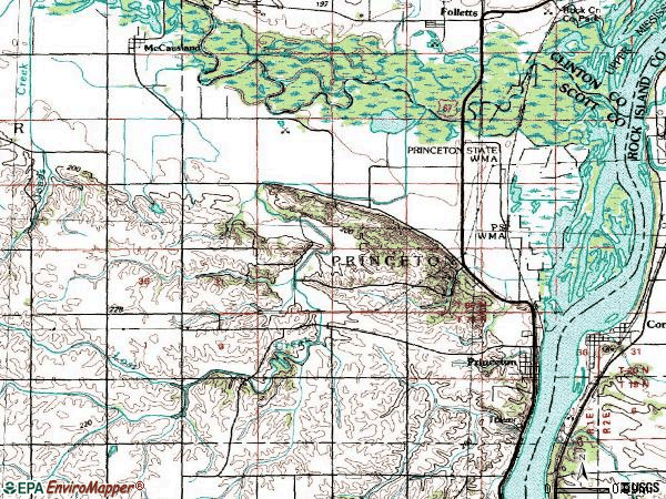 Zip code 52768 topographic map