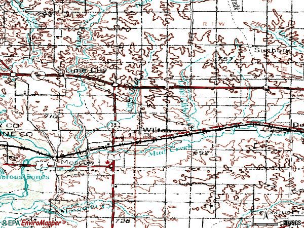 Zip code 52778 topographic map
