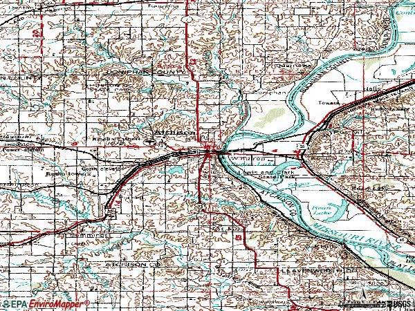Zip code 66002 topographic map