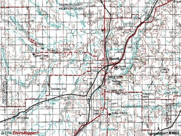 Zip code 66030 topographic map