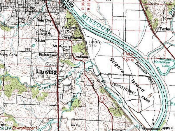 Zip code 66043 topographic map
