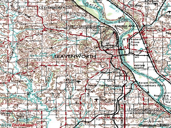 Zip code 66048 topographic map