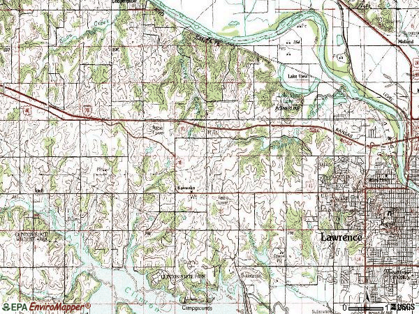 Zip code 66049 topographic map