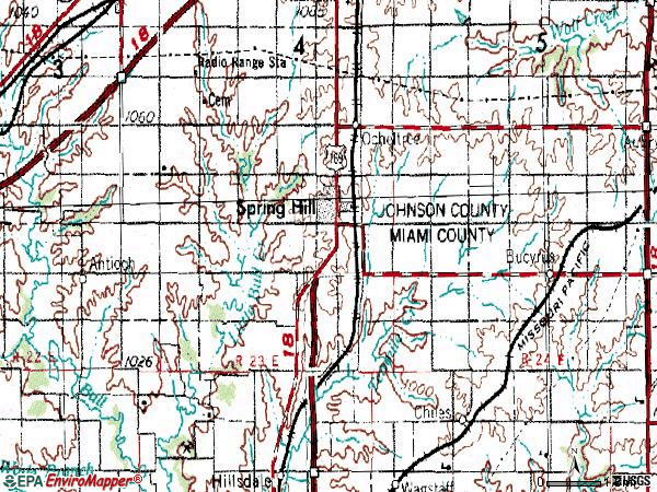 Zip code 66083 topographic map