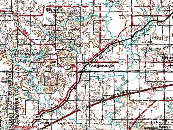Zip code 66086 topographic map