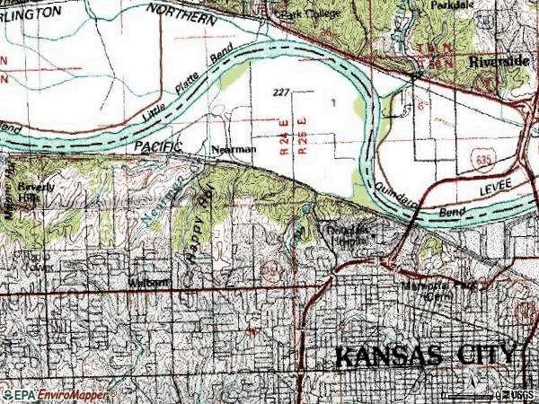Zip code 66104 topographic map