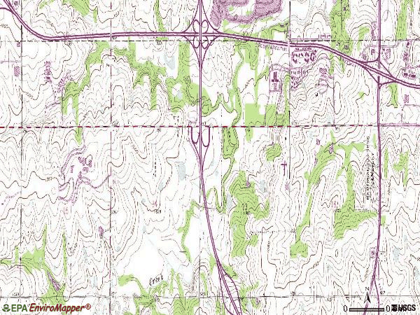 Zip code 66210 topographic map