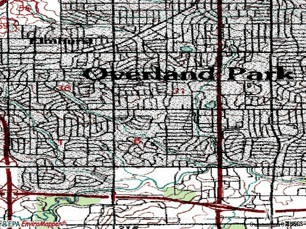 Zip code 66212 topographic map