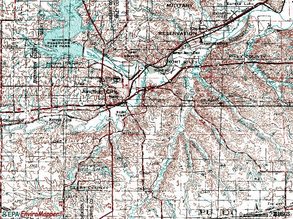Zip code 66441 topographic map