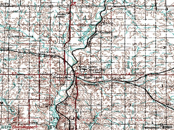 Zip code 66508 topographic map