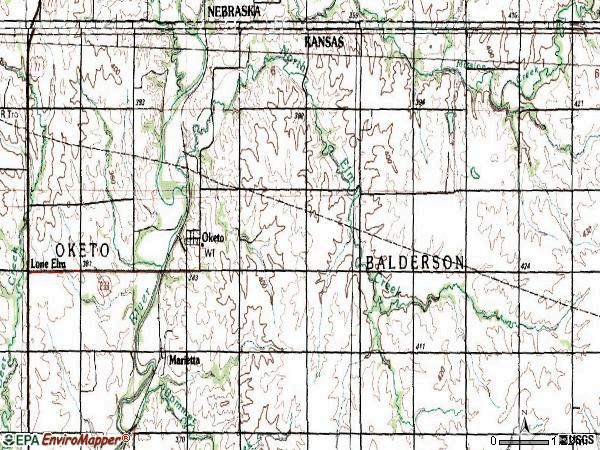 Zip code 66518 topographic map