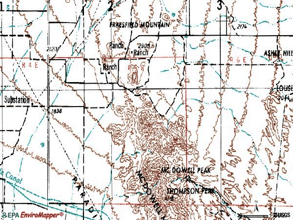 Zip code 85255 topographic map