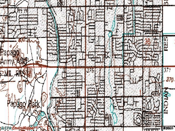 Zip code 85257 topographic map