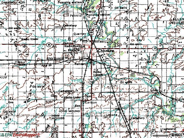 Zip code 66720 topographic map