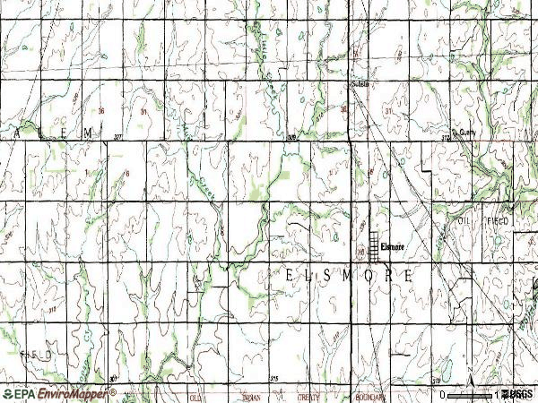 Zip code 66732 topographic map