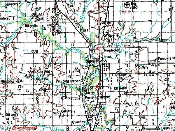 Zip code 66748 topographic map