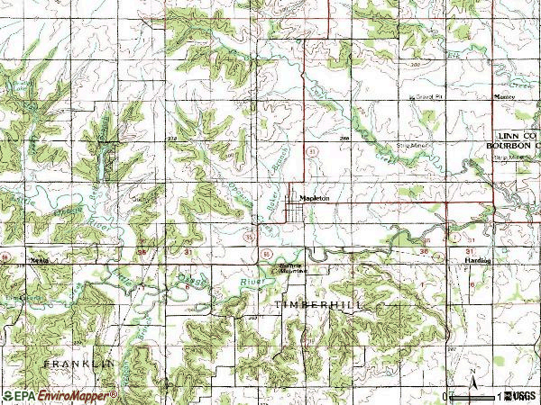 Zip code 66754 topographic map