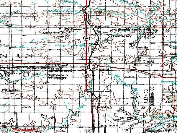Zip code 66755 topographic map