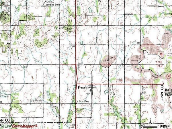 Zip code 66767 topographic map